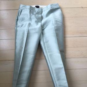 Mint Silk Shantung Trousers